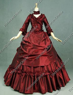 Victorian Satin Bustle 5-PC Gown Dress Steampunk Theatre Clothing V 330 L