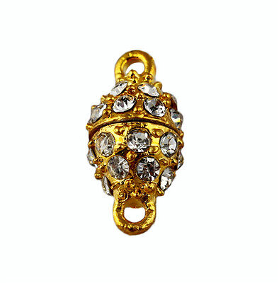 10Sets Golden Rhinestone Crystal Connectors Clasp Charm Strong Magnet 18.5*9mm