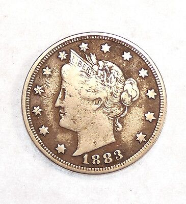"BARGAIN 1883 Liberty/""V"" Nickel with ""Cents"" FINE 5-Cents"