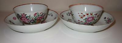 Pair 18th Century Chinese Export Porcelain Tea Bowls & Saucers
