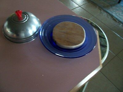 Moderntone cobalt blue cheese dish with metal lid & cutting board