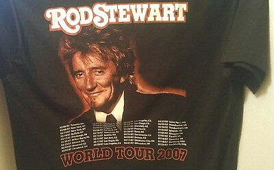 ROD STEWART World Tour 2007 T-SHIRT Concert LARGE Black L Canada USA Germany UK