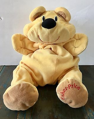 "Vintage Fisher Price Yellow RUMPLE BEAR Honey 17"" Plush Stuffed Animal 1993"