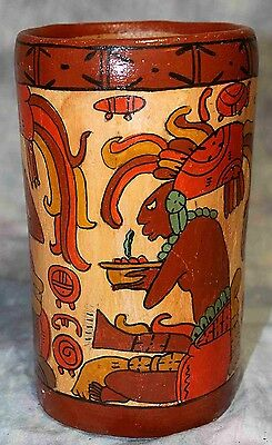 """Old Mexican Maya Inca Aztec Red Clay Large 8"""" Vase with Colorful Pictures"""