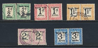 SOUTH WEST AFRICA 1924-6 POSTAGE DUE SET TO 3d SETTING VI, VF USED SG#D27-31