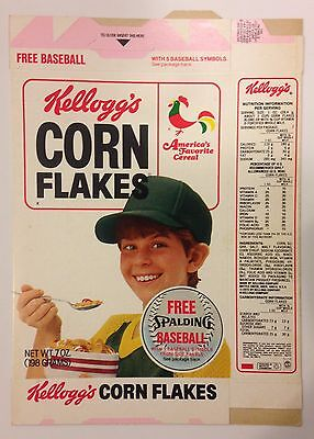 Vintage 1984 Kellogg's Corn Flakes Cereal Box,Spalding Baseball Offer,Unused
