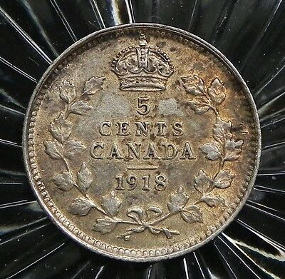1918 Canadian King George V 5 cent 92.5% Sterling Silver  coin