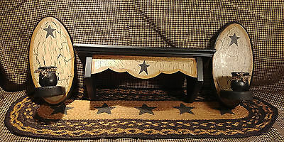 Primitive Crackle Tan & Black Stars Wood Shelf & Scone Pair ~ Country Decor