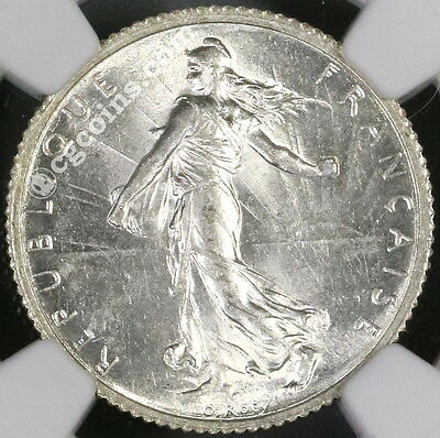 1915 NGC MS 61 FRANCE Semeuse Sower Silver 1 Franc Coin (17041101D)
