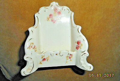 Antique Carlsbad Hand Painted Porcelain Calling Card Business Card Holder