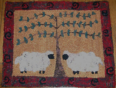 TWO VERY WOOLY SHEEP Primitive Rug Hooking Kit  on monks cloth with #8 cut wool