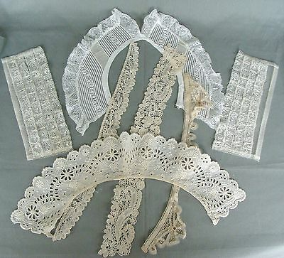 6 Lovely VTG Lot~Antique Lace Collars & Cuffs~Perfect for Dolls & More