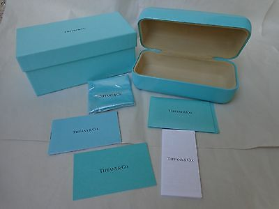 Tiffany & Co. Authentic Blue Eyeglass Sunglass Hard Case Box Cleaner Cloth