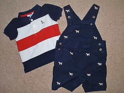 Baby Boy 12-18 Months Janie And & Jack Polo Shirt Shortalls Short Overall Outfit