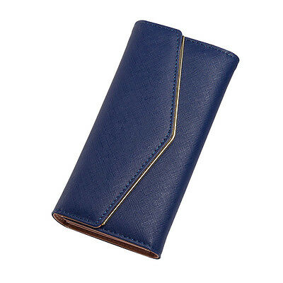 Lady Women Clutch Long Purse Leather Wallet Card Holder Handbag Phone Bag Blue