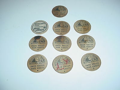 10 Vintage Wooden Nickels Face 5 Cents Indian Philipsburg  Pa Busy B Coins