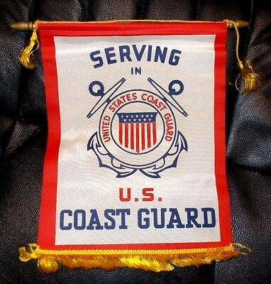 "Vintage WWII ""Serving in U.S. Coast Guard"" Window/Door Pennant Banner"