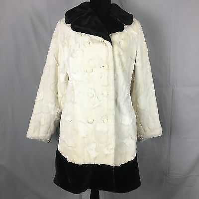 Vintage Coat S Faux Fur Double Breasted White With Black Collar & Trim USA