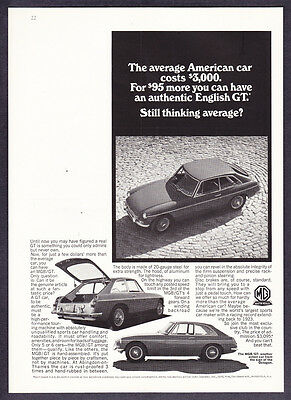 """1967 MG MGB/GT Coupe 3 photo """"An Authentic English GT"""" vintage promo print ad"""
