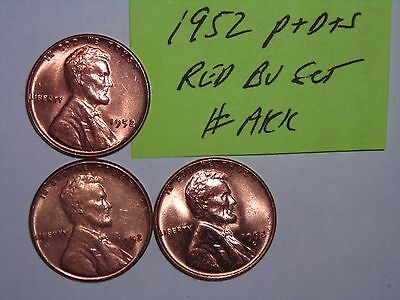 wheat penny lot 1952,1952-D,1952-S  RED BU SET LUSTEROUS RED UNC LINCOLN CENTS