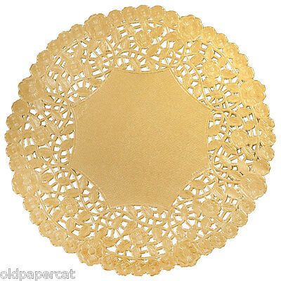 """250 - 12"""" GOLD Metallic FOIL Paper DOILIES 