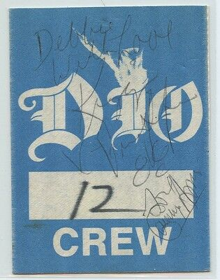 DIO Ronnie James Tour Official Genuine BACKSTAGE Crew PASS 1988 Signed