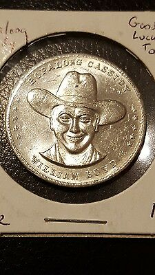 "Tokens Medals Vintage TV HOPALONG CASSIDY WILLIAM BOYD Good Luck from ""HOPPY"""