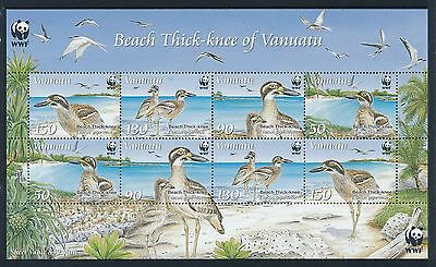 2009 Vanuatu Wwf Beach Thick-Knee Sheetlet Fine Mint Mnh/muh