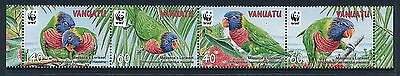 2011 Vanuatu Wwf Lorikeets Strip Of 4 Fine Mint Mnh/muh