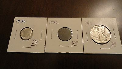 Lot of 3 coins - 1917 US Half Dollar, 1886 penny and 1956 dime coin