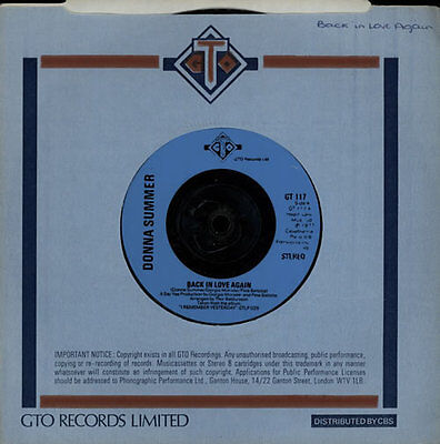 """Donna Summer Back In Love Again - Injection UK 7"""" vinyl single record GT117"""