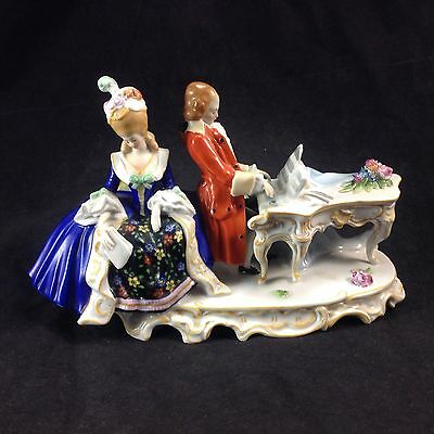Antique Dresden German Musician Romantic Couple Man Playing Piano Figurine