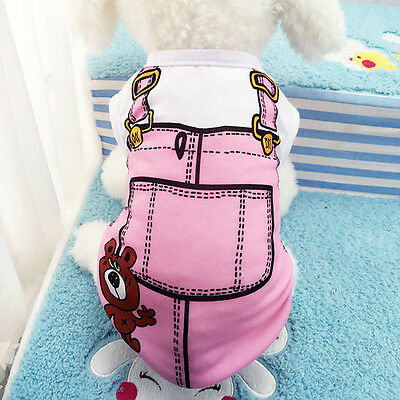 Pink Lovely Puppy Pet Dog Cat Cotton Vest Summer Clothes T-Shirt Coat Soft Hot