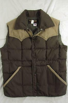 Vtg 70s Tempco Goose Down Western 2 Tone Quilted Vest Snap Front Puffer Nice