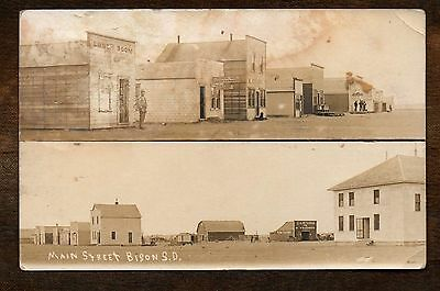1910 Main Street ~ Bison South Dakota ~ Vintage Real Photo Postcard RPPC