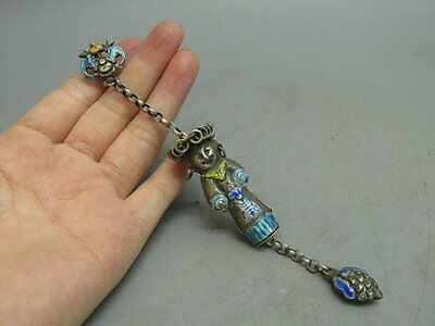 Chinese Old Silver & Enamel Carved Person Pendant