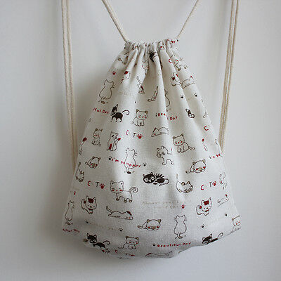 Cotton Linen Drawstring Backpack Student Book Shoes Bag Cat Fish Bone B132 E