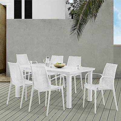 [casa.pro] Seating Area Garden Furniture White Poly Rattan Look Dining Table + 6