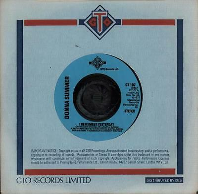 """I Remember Yesterday - Injection Donna Summer 7"""" vinyl single record UK GT107"""