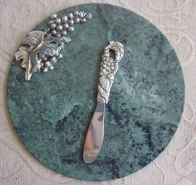 SEAGULL Pewter Canada MARBLE CHEESE BOARD & KNIFE grape decoration BOX