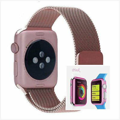 Rose Milanese Metal Band Strap For Apple Watch 42mm Clear Pink Case