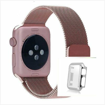 Rose Milanese Metal Band Strap For Apple Watch 42mm Protect Silver Case