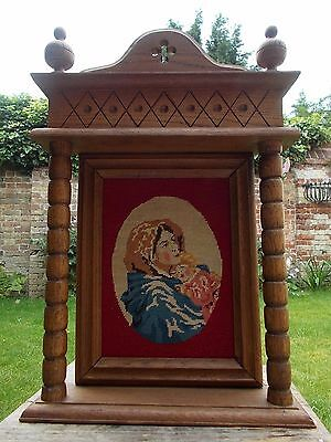 Vintage~Antique Hand Crafted Tapestry In Wooden Frame~Religious~Madonna & Child