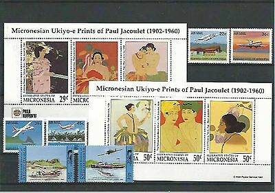 10.923/ Lot / Mixture ** MNH Micronesia mit 2x Block Kunst Art Gemälde