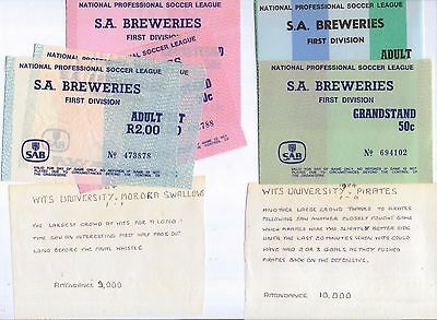 1984 NPSL South Africa match tickets with interesting notes on the games