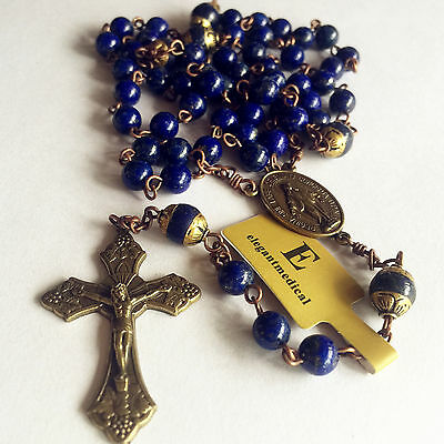Vintage Lapis lazuli Beads Handmade 5 DECADE Rosary CATHOLIC NECKLACE Cross