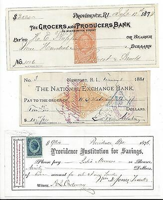 3 Rhode Island Bank Checks  1873-1881