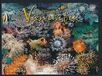 2005 Vanuatu Coral Gardens Sheetlet Fine Mint Mnh Self Adhesive Stamps