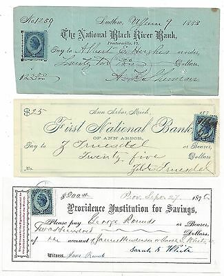 3 Bank Checks  1876-1883