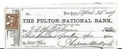 "1869 New York Bank Check ""Steamship"""